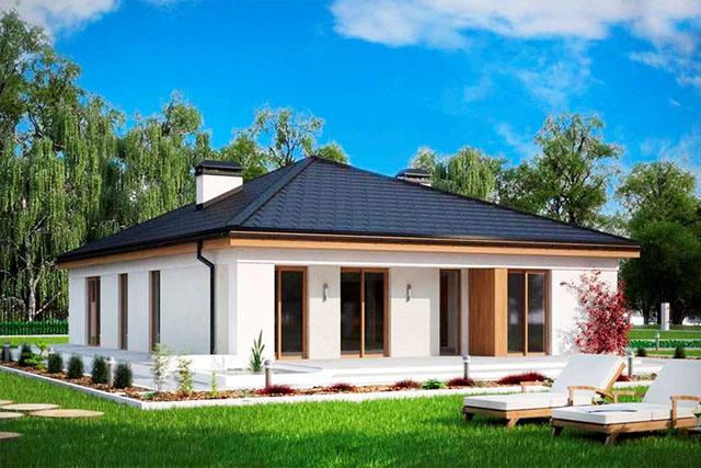 На фото - шатровая крыша над домом прямоугольной формы.
